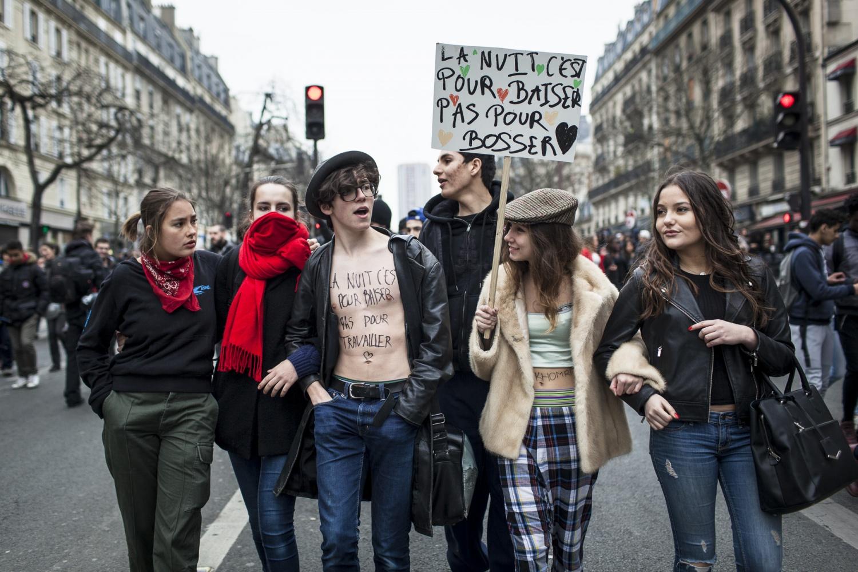 Mobilisation, manifestation a Paris des lyceens et etudiants contre le projet de Loi Travail